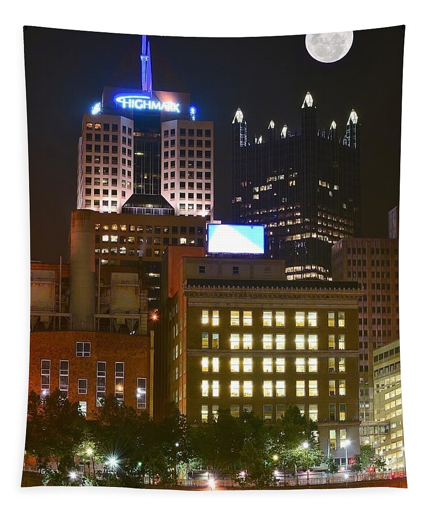 Pittsburgh Tapestry featuring the photograph Highmark by Frozen in Time Fine Art Photography