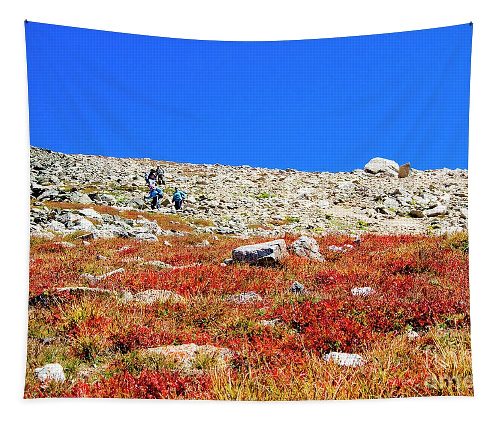 Mount Yale Tapestry featuring the photograph Hikers And Autumn Tundra On Mount Yale Colorado by Steve Krull