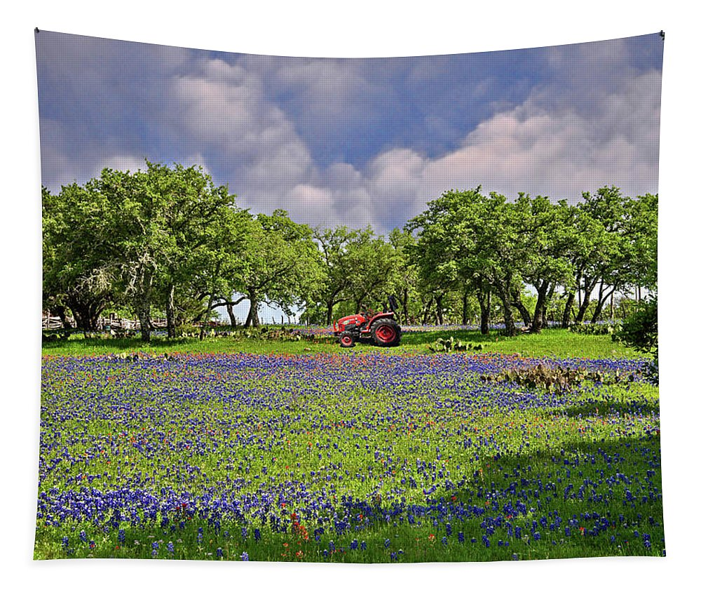 Farm Lands Tapestry featuring the photograph Hill Country Farming by Lynn Bauer
