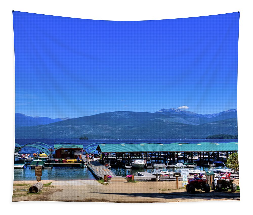 Hill's Resort On Priest Lake Tapestry featuring the photograph Hill's Resort On Priest Lake by David Patterson