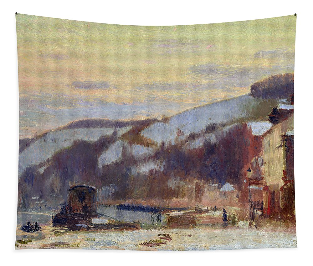 Hillside Tapestry featuring the painting Hillside At Croisset Under Snow by Joseph Delattre