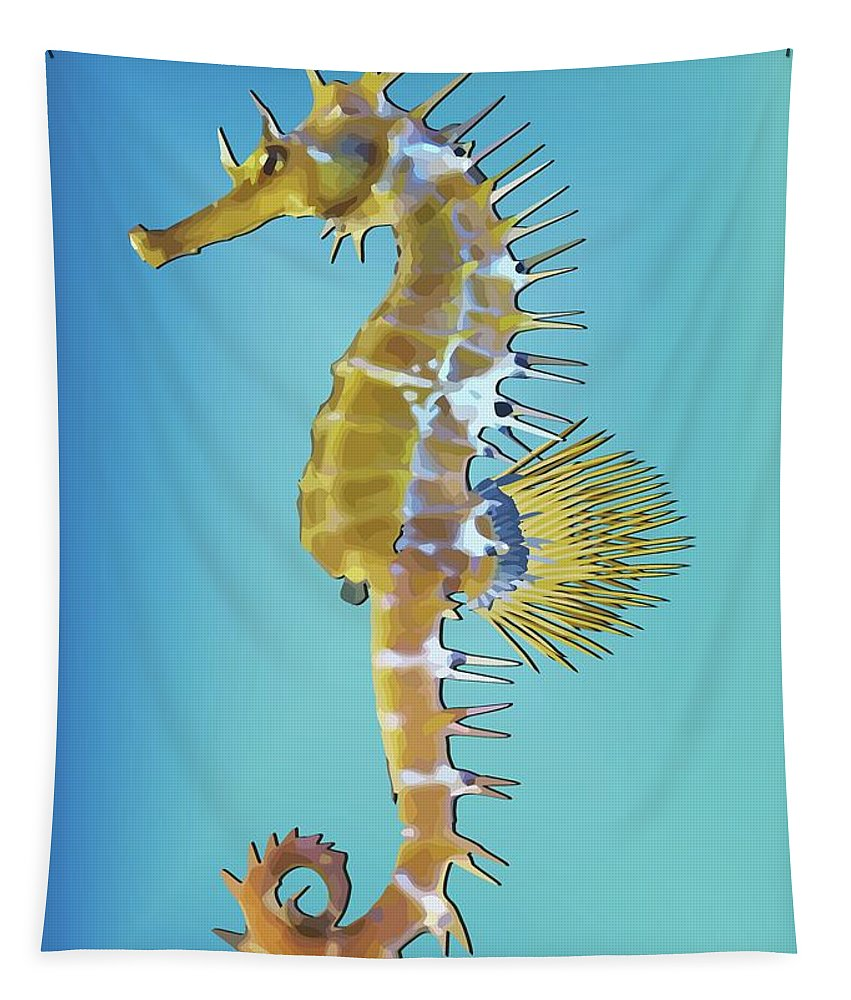 Hippocampus Tapestry featuring the digital art Hippocampus by Quim Abella