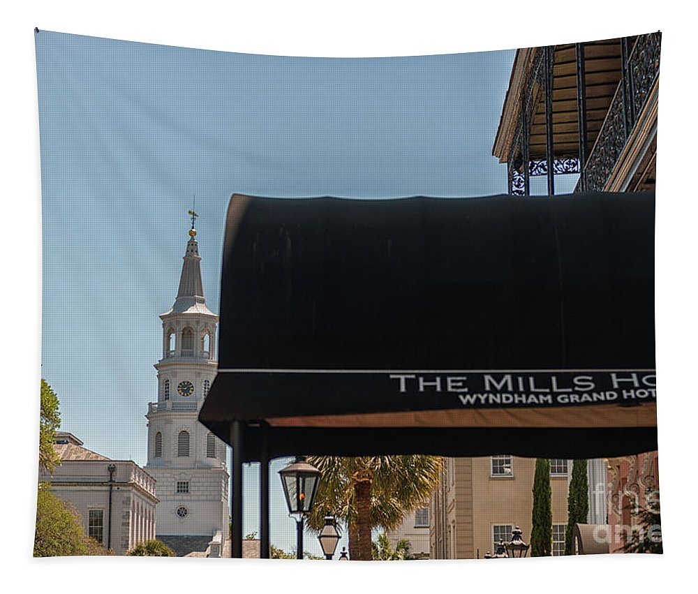 The Mills House Tapestry featuring the photograph Historic Mills House Lodging by Dale Powell