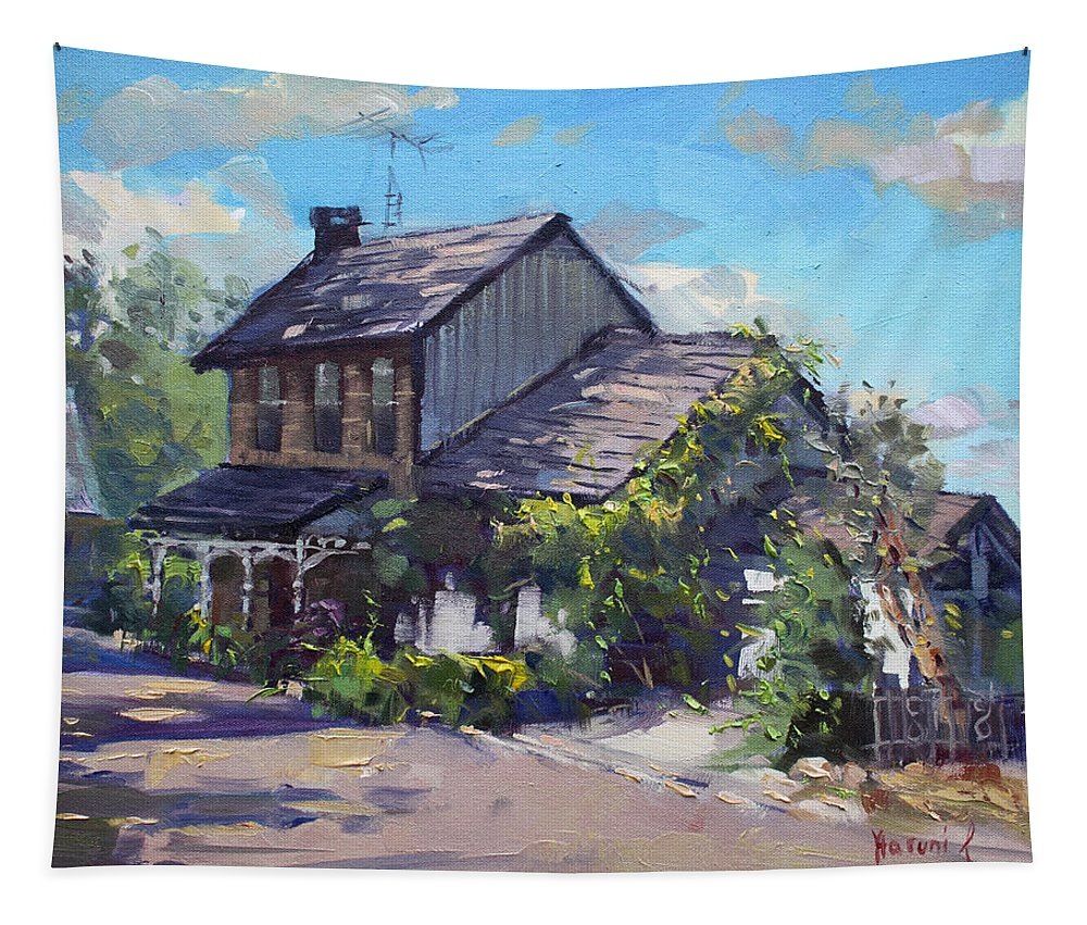 Historical House Tapestry featuring the painting Historical House Ontario by Ylli Haruni
