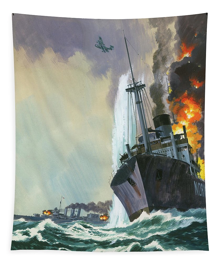 Hk 33 Tapestry featuring the painting Hk Thirty Three The Deadly Penguin by Wilf Hardy