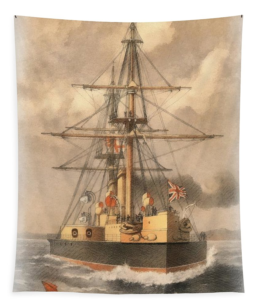Hms Inflexible Tapestry featuring the painting Hms Inflexible by Sergey Lukashin