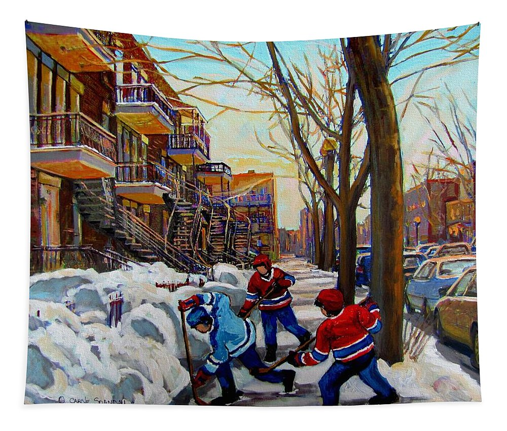Hockey Canvas Prints Tapestry featuring the painting Hockey On De Bullion by Carole Spandau