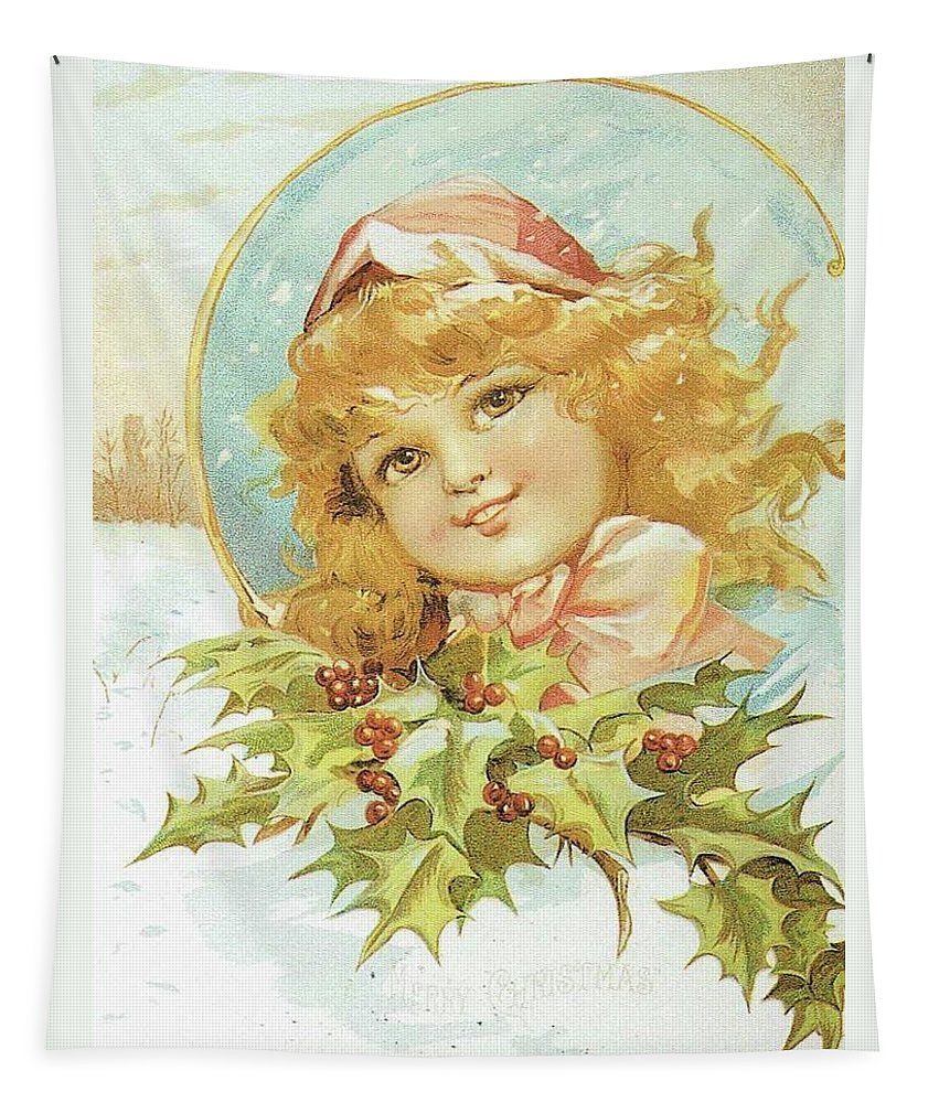 Frances Brundage Tapestry featuring the painting Holiday Girl by Reynold Jay