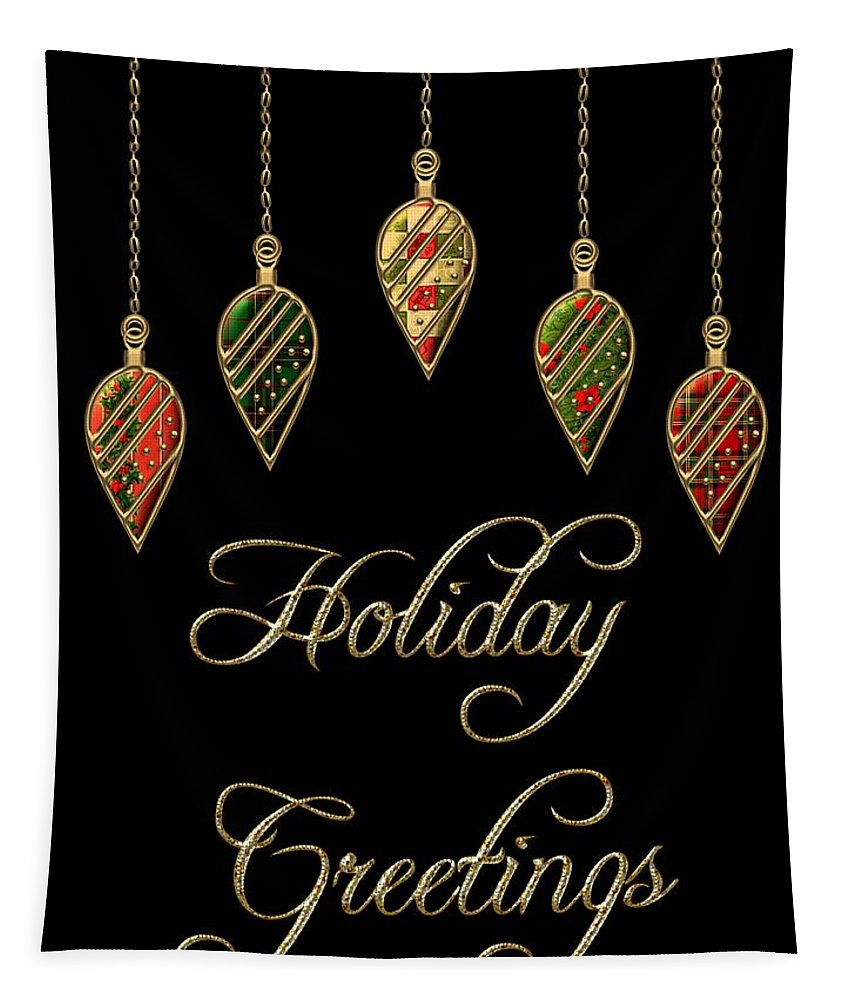 Red Tapestry featuring the digital art Holiday Greetings Merry Christmas by Movie Poster Prints
