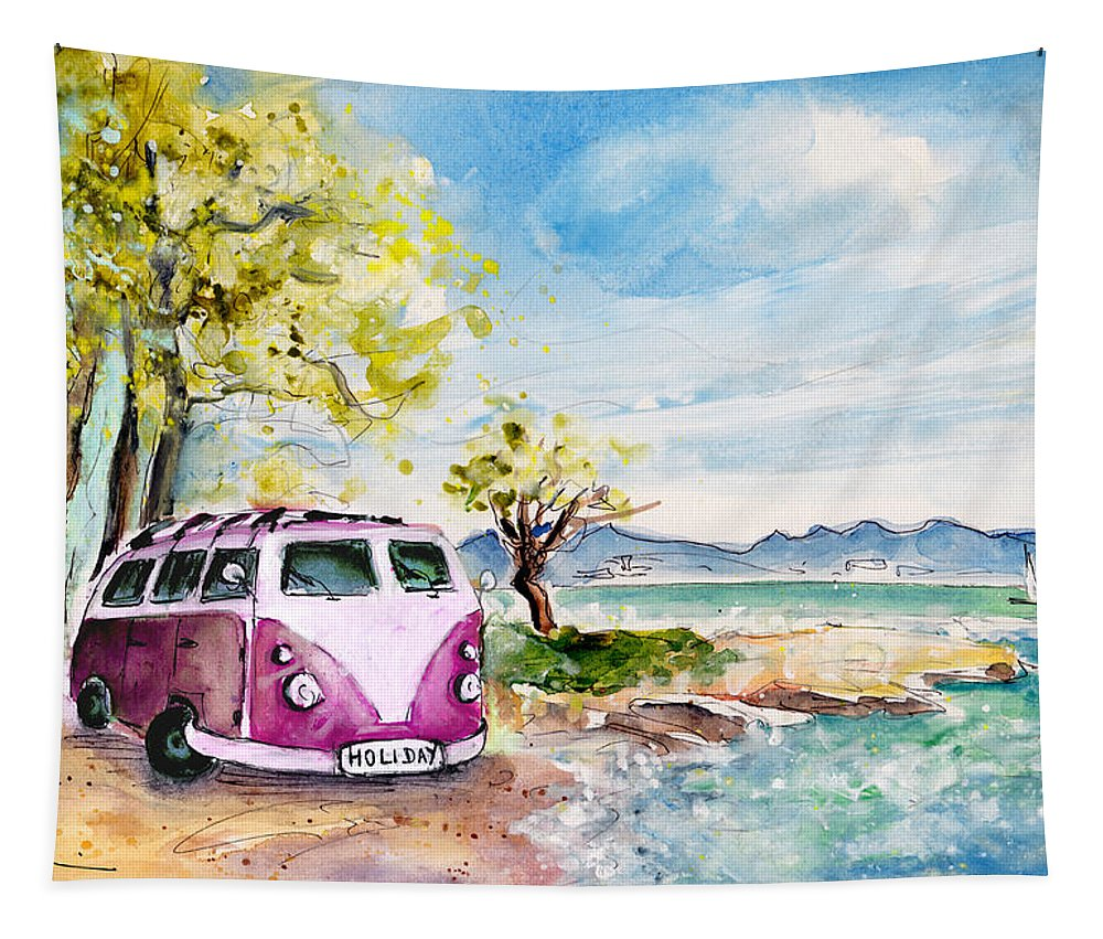Travel Tapestry featuring the painting Holiday In Cala Ratjada by Miki De Goodaboom