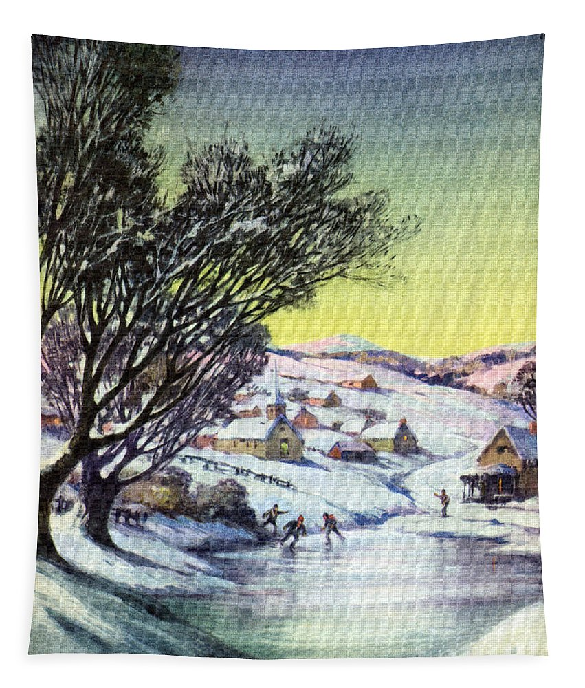 Holiday Tapestry featuring the digital art Holiday Winter Snow Scene Children Skating On Frozen Pond by R Muirhead Art
