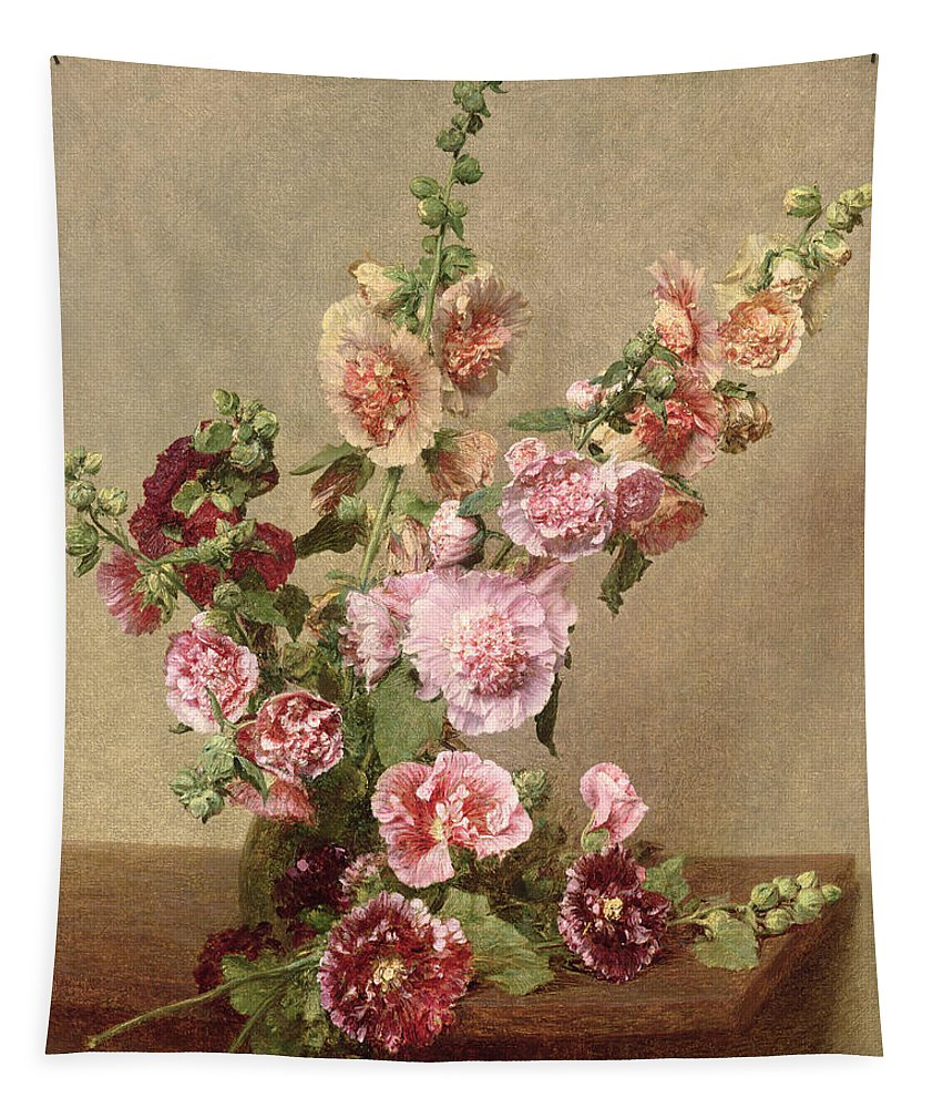 Hollyhocks Tapestry featuring the painting Hollyhocks by Ignace Henri Jean Fantin Latour