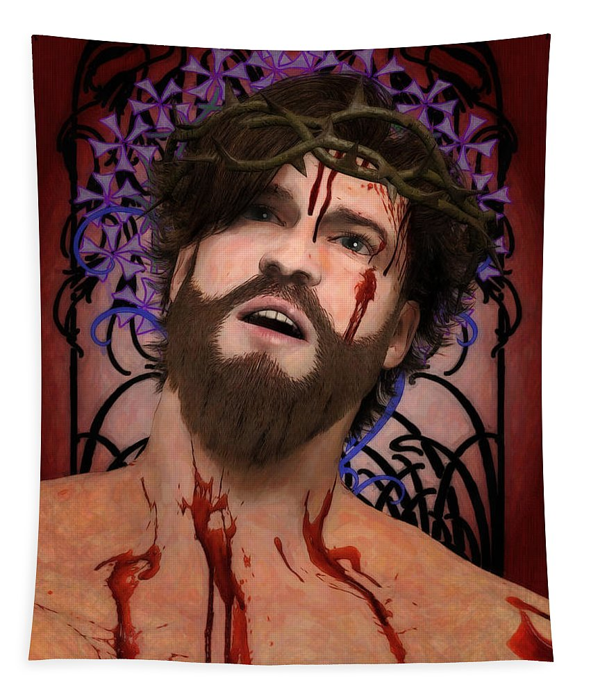 Ecce Tapestry featuring the digital art Holy Face Of Ecce Homo by Joaquin Abella