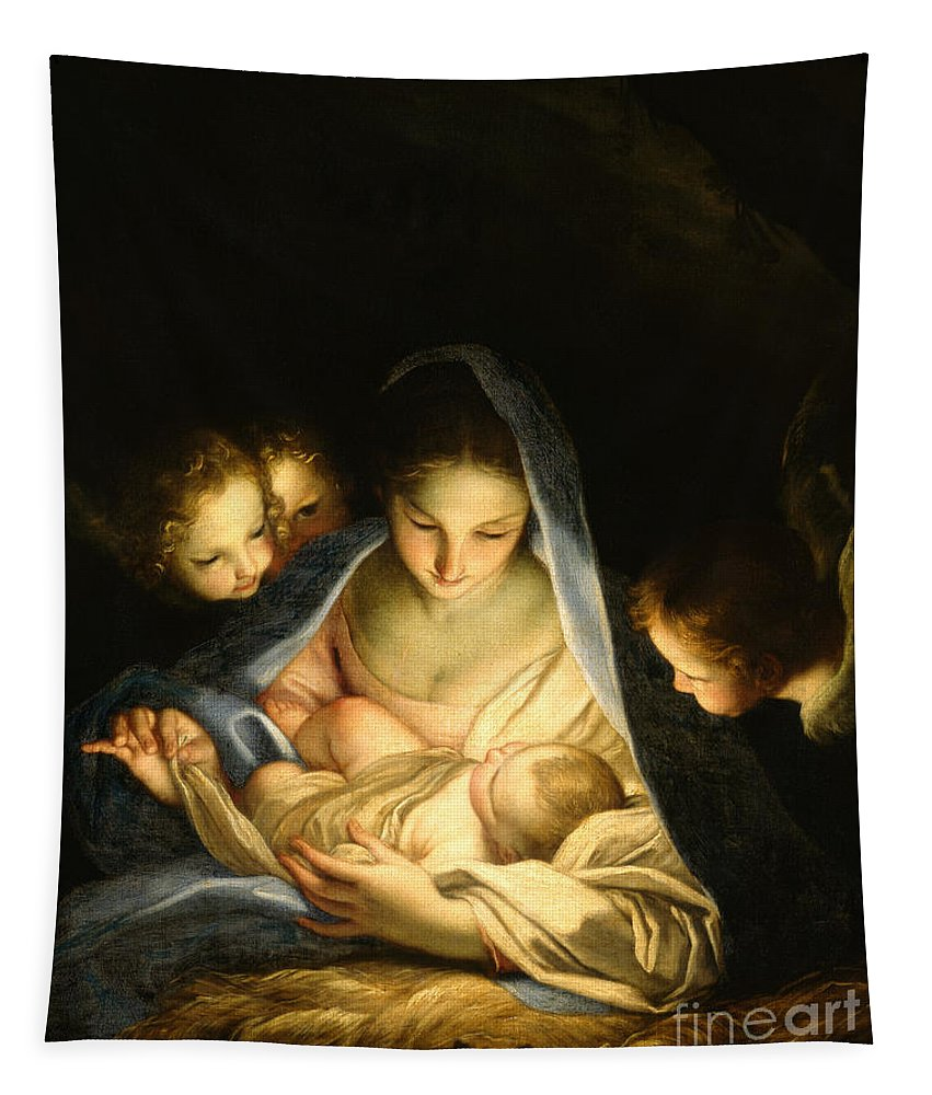 Virgin And Child Tapestry featuring the painting Holy Night by Carlo Maratta