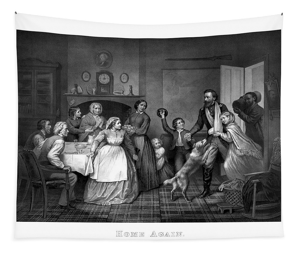 Coming Home Tapestry featuring the painting Home Again - Civil War by War Is Hell Store