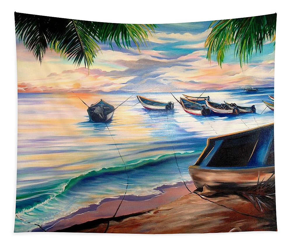 Ocean Painting Caribbean Painting Seascape Painting Beach Painting Fishing Boats Painting Sunset Painting Blue Palm Trees Fisherman Trinidad And Tobago Painting Tropical Painting Tapestry featuring the painting Home From The Sea by Karin Dawn Kelshall- Best