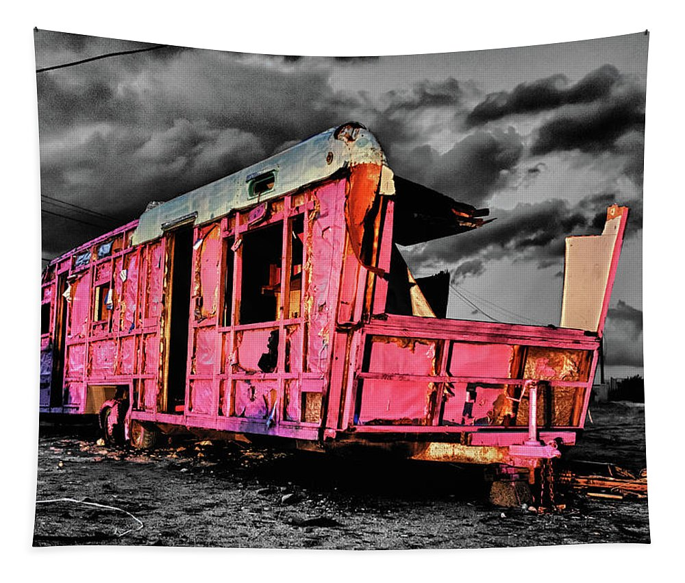 Airstream Tapestry featuring the photograph Home Pink Home Black And White by Scott Campbell