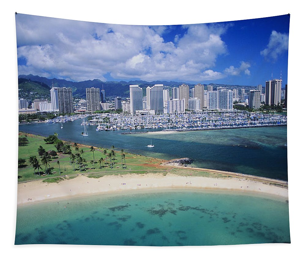 Above Tapestry featuring the photograph Honolulu, Oahu by Dana Edmunds - Printscapes