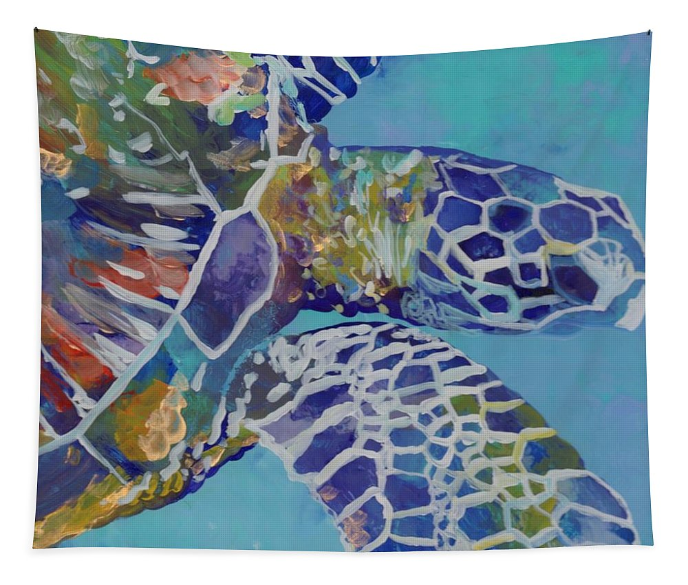 Honu Tapestry featuring the painting Honu by Marionette Taboniar