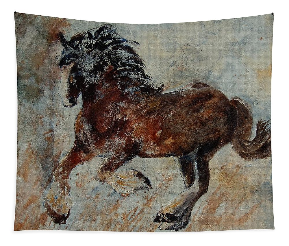 Animal Tapestry featuring the painting Horse 561 by Pol Ledent