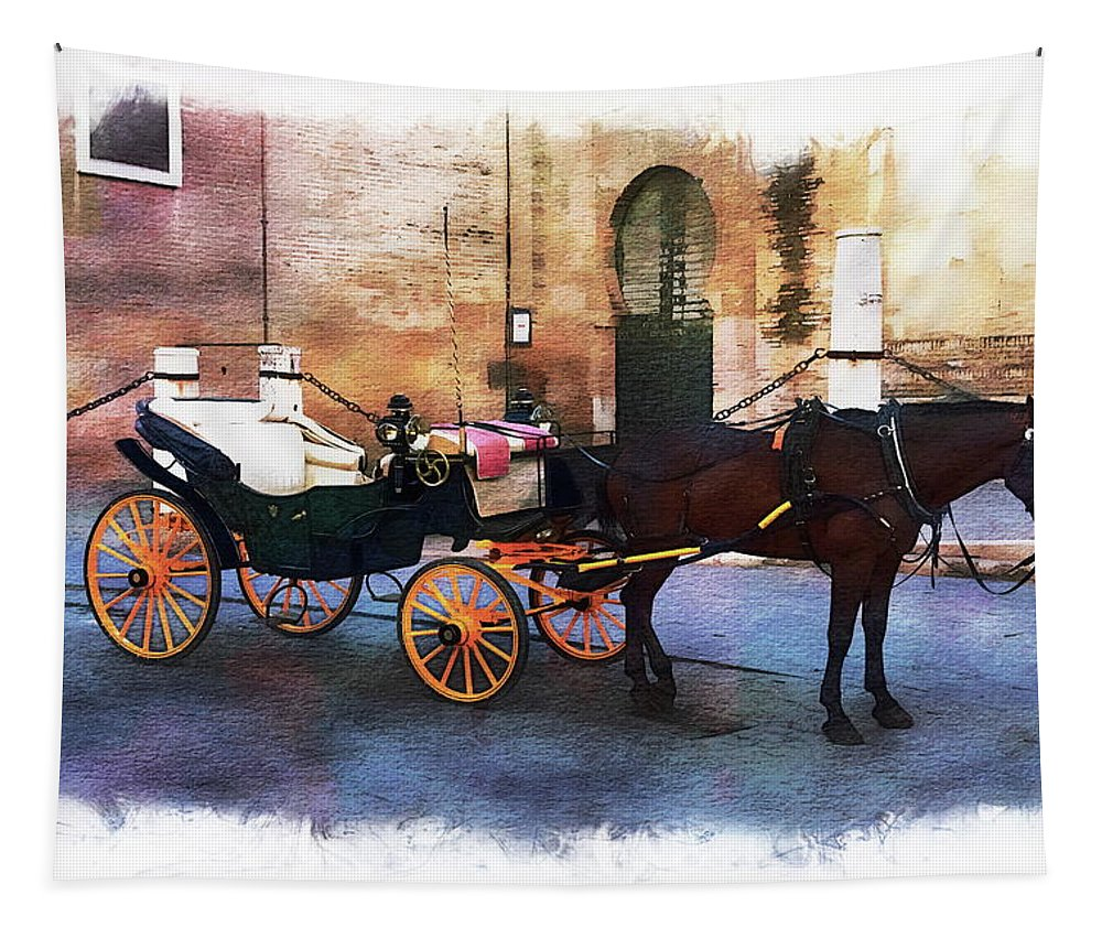 Animal Tapestry featuring the photograph Horse And Carriage by Anthony Dezenzio