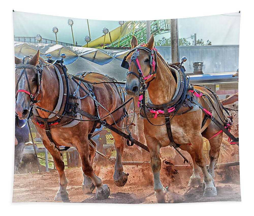 Horse Tapestry featuring the photograph Horse Pull At The Fair by Mike Martin