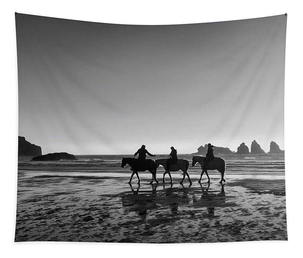 Oregon Tapestry featuring the photograph Horseback Storytelling Black And White by Mark Kiver