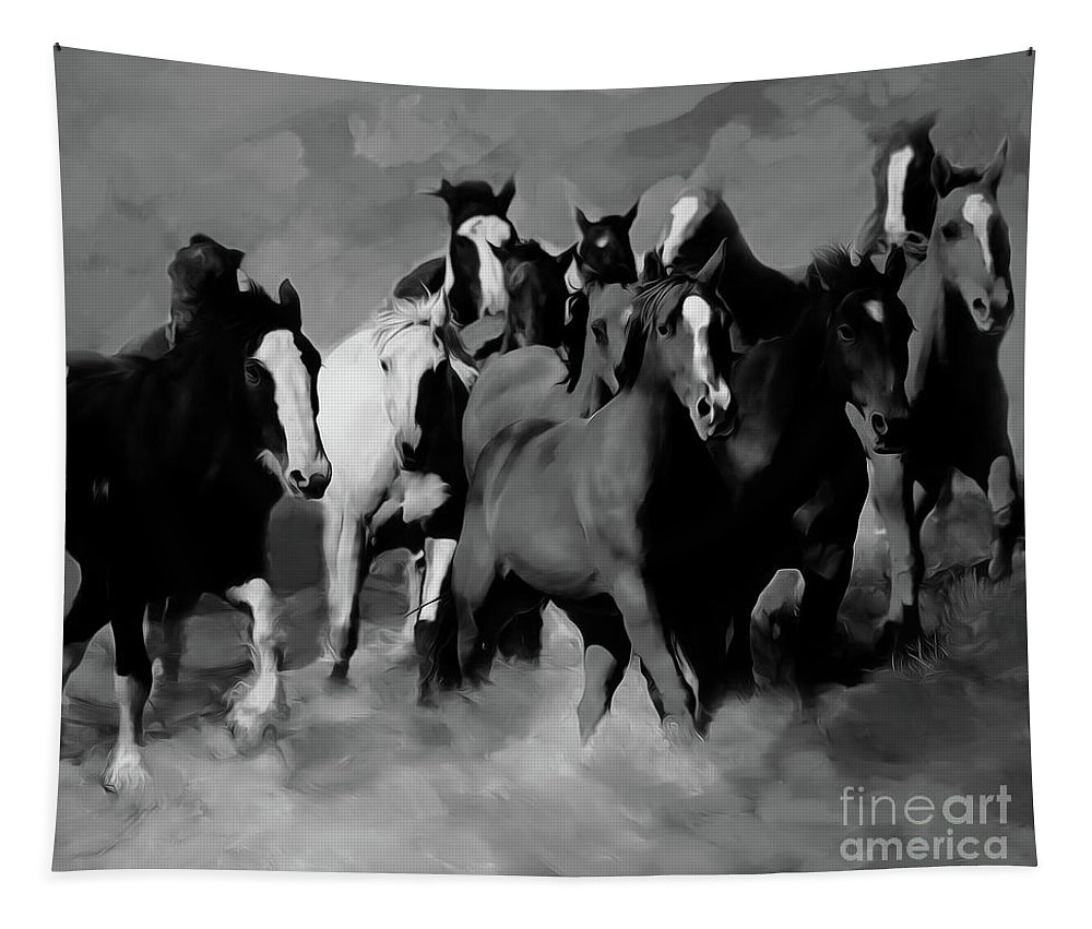 Wild Horse Tapestry featuring the painting Horses Stampede 01 by Gull G