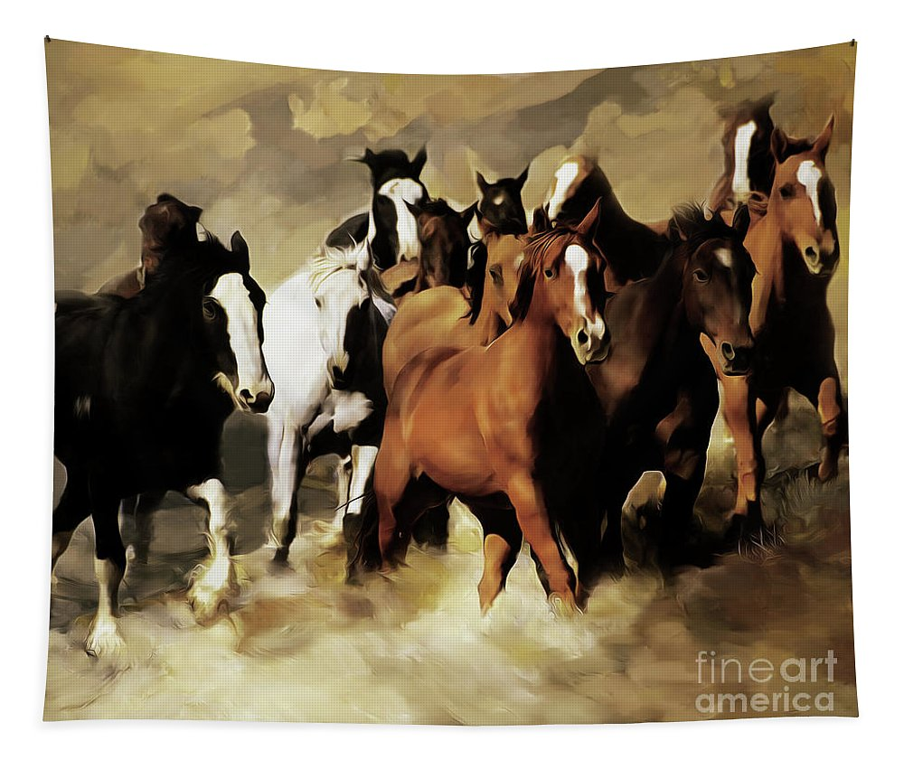 Wild Horse Tapestry featuring the painting Horses Stampede 091 by Gull G