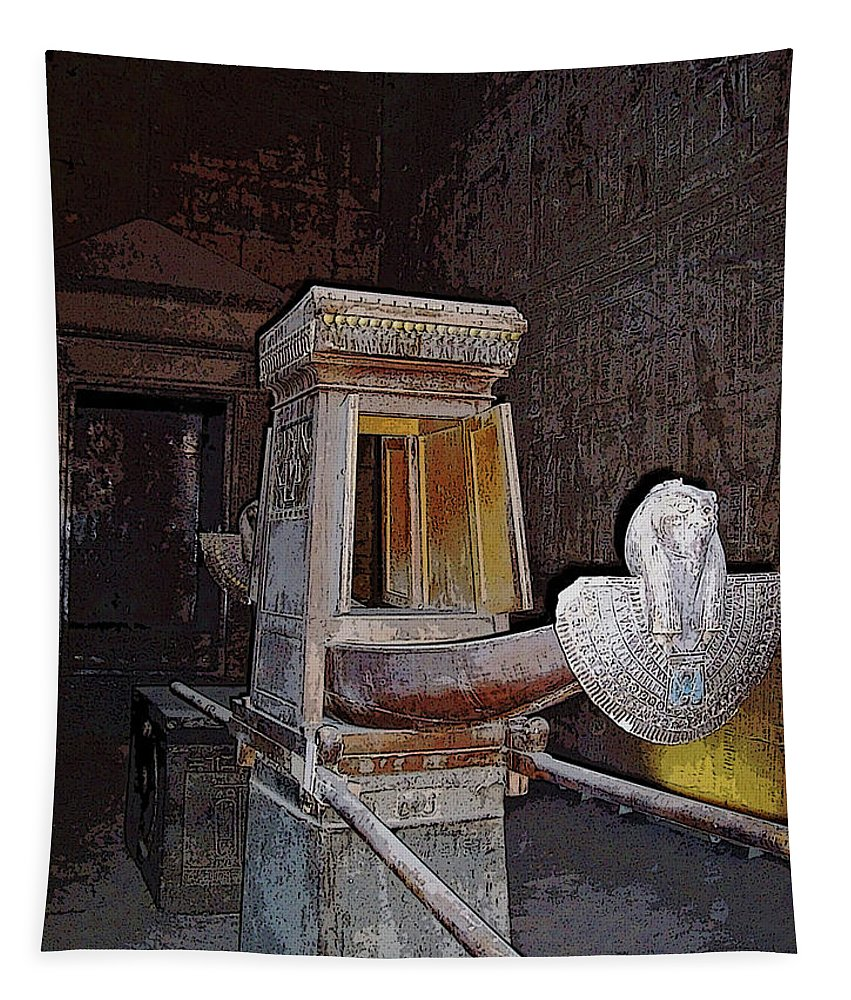 Edfu Tapestry featuring the photograph Horus Ceremonial Barque I by Debbie Oppermann