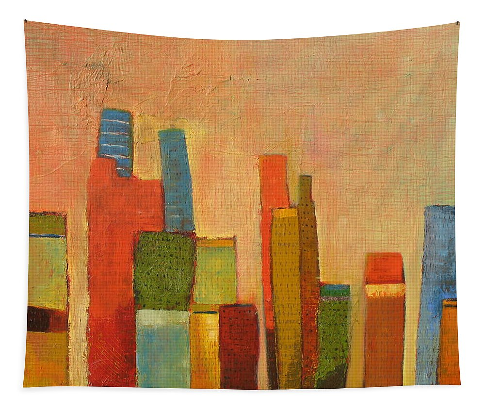 Abstract Cityscape Tapestry featuring the painting Hot Manhattan by Habib Ayat