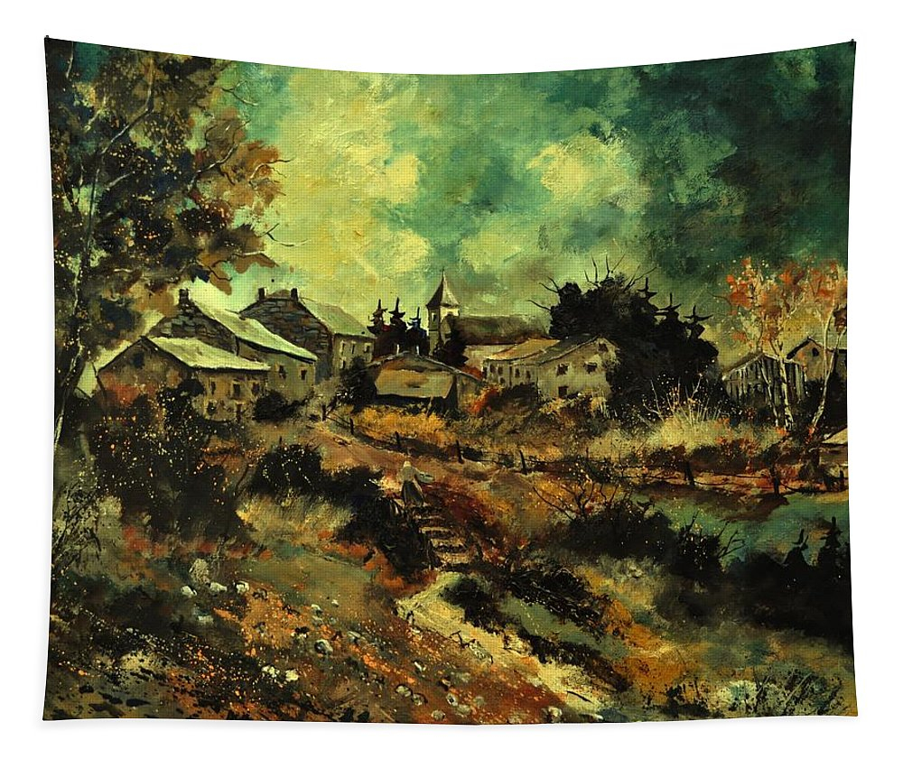 Landscape Tapestry featuring the painting Houdremont by Pol Ledent