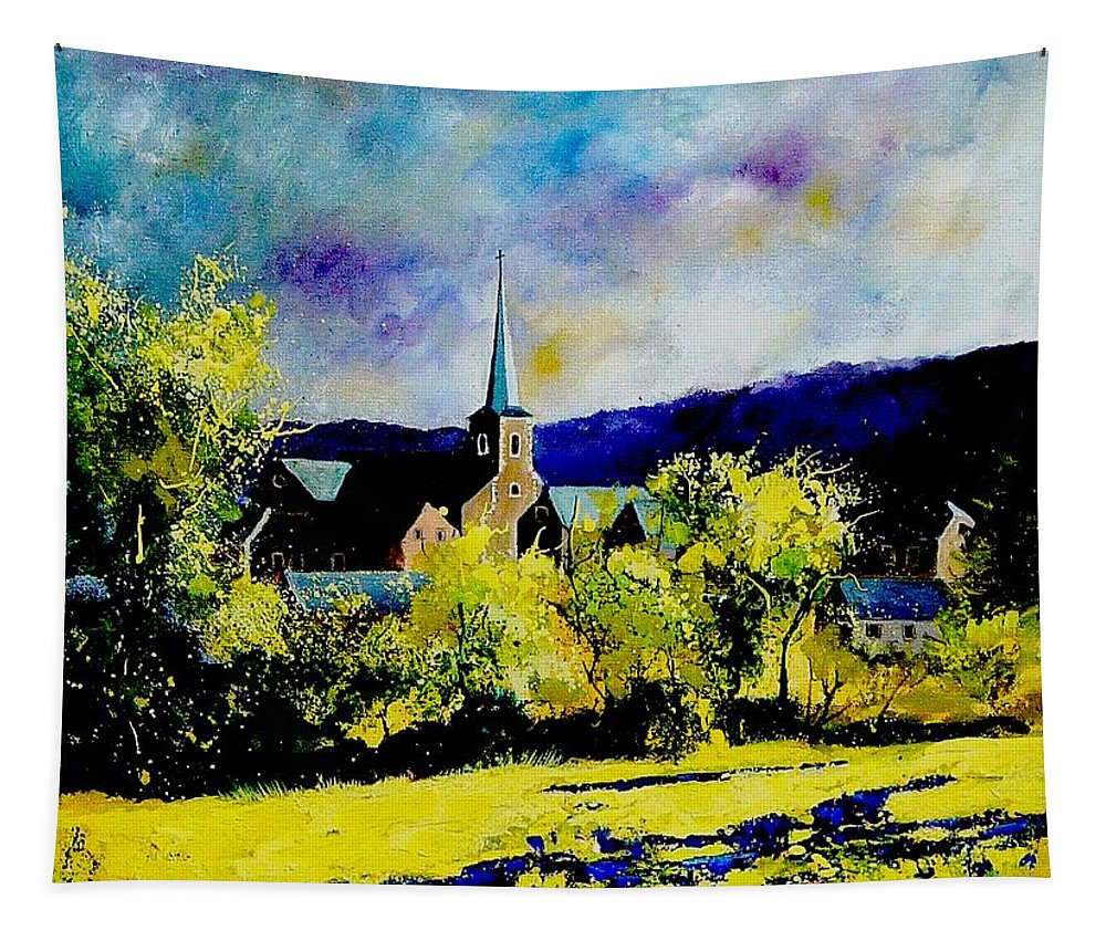 Poppies Tapestry featuring the painting Hour Village Belgium by Pol Ledent