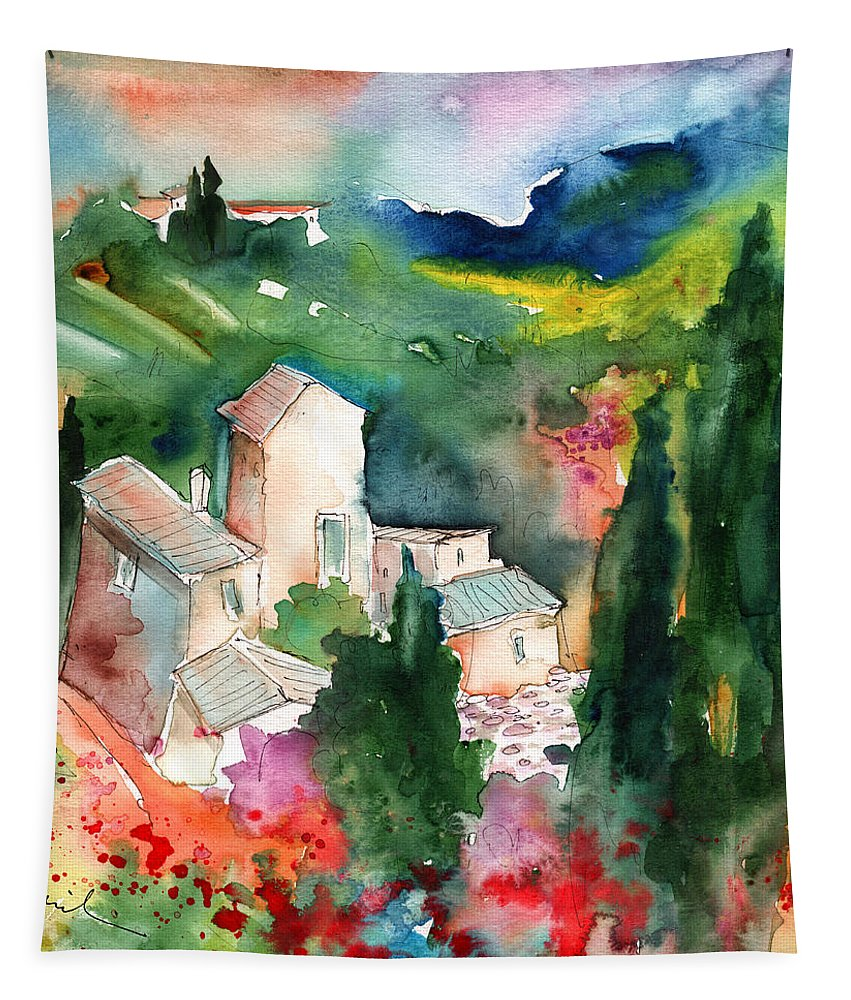 Landscapes Tapestry featuring the painting Houses In Montepulciano In Tuscany 01 by Miki De Goodaboom