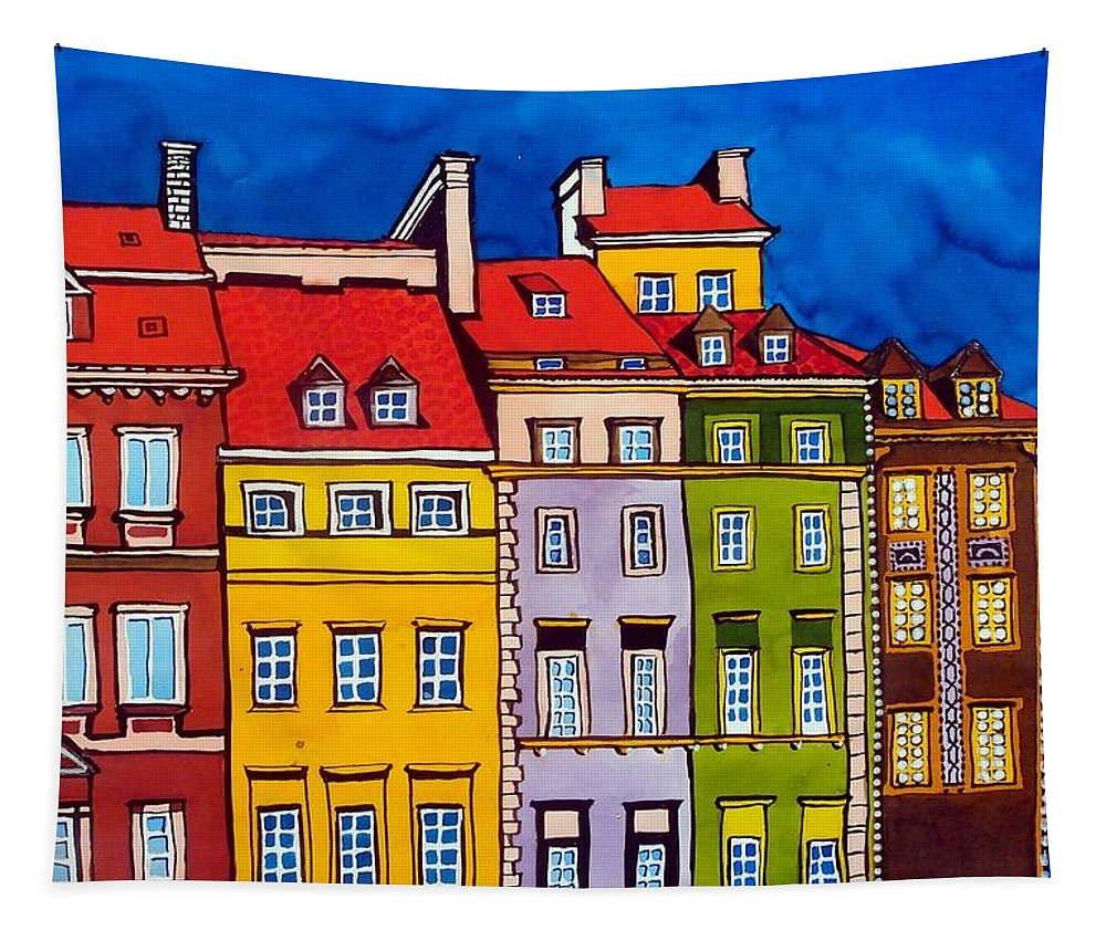 Houses Tapestry featuring the painting Houses In The Oldtown Of Warsaw by Dora Hathazi Mendes