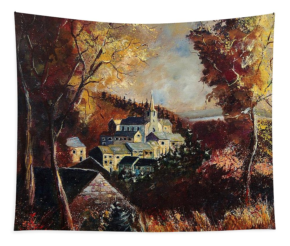 Tree Tapestry featuring the painting Houyet Village Belgium by Pol Ledent