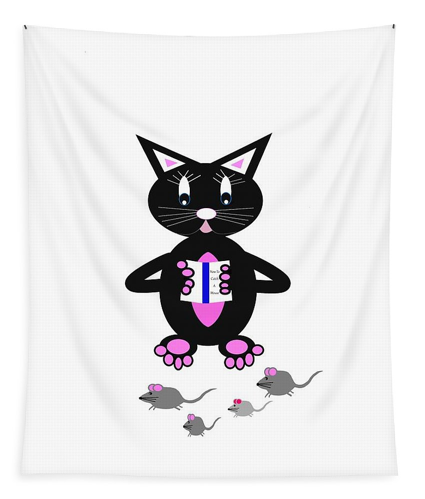 Funny Cat Art Tapestry featuring the digital art How To Catch A Mouse - Humor by Kathleen Sartoris