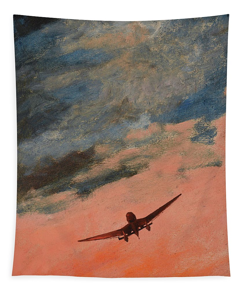Luftwaffe Tapestry featuring the painting Howl by Oleg Konin