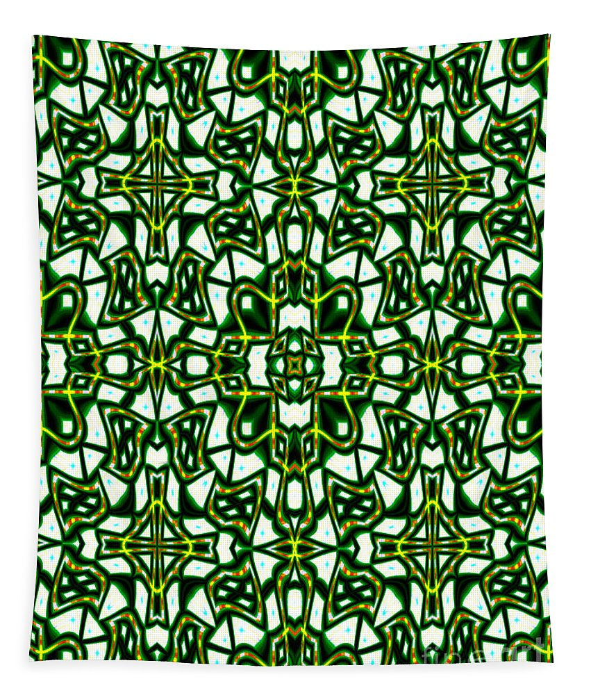 Green Tapestry featuring the digital art Human Angels Abstract by Debra Lynch