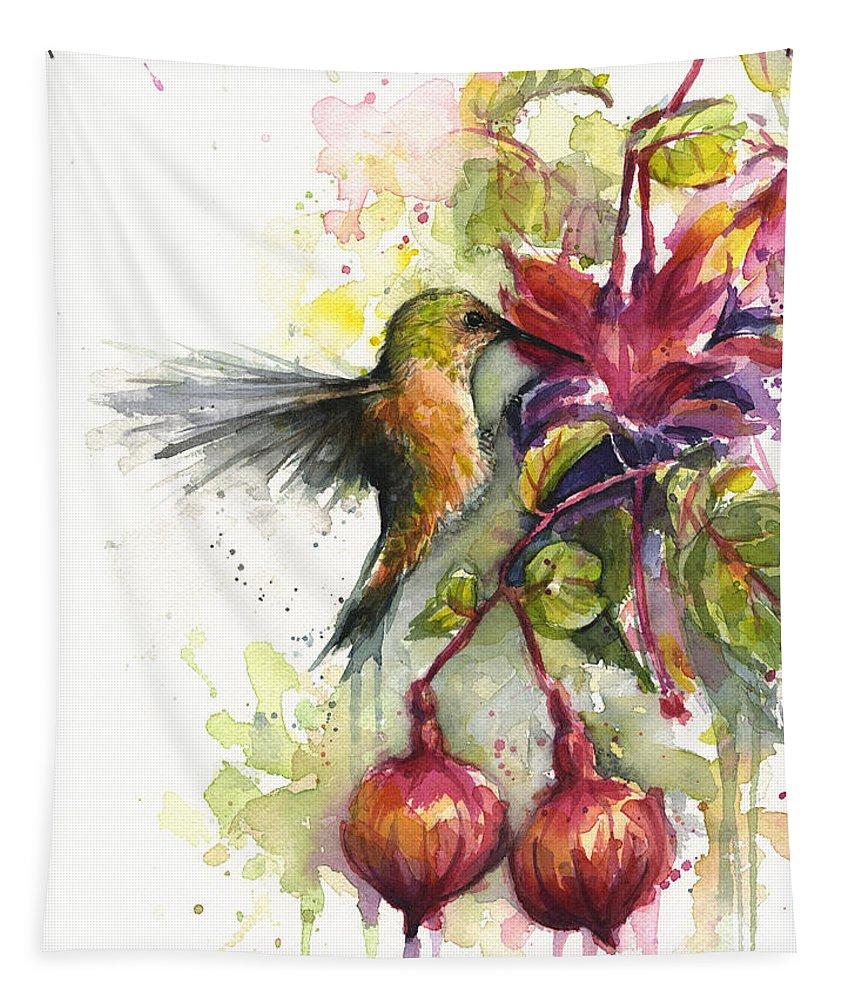 Hummingbird Tapestry featuring the painting Hummingbird and Fuchsia by Olga Shvartsur