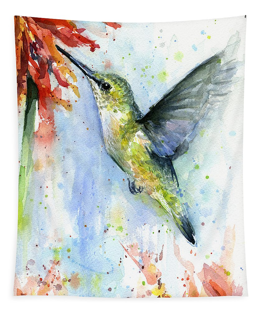 Watercolor Tapestry featuring the painting Hummingbird And Red Flower Watercolor by Olga Shvartsur