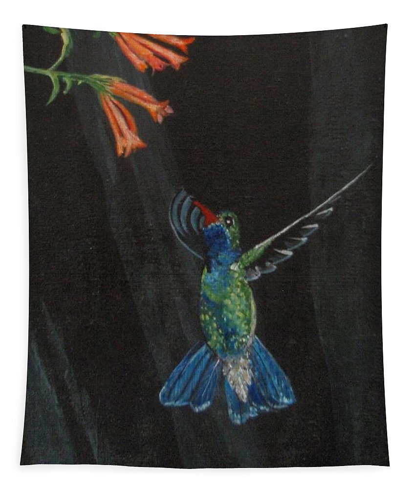 Hummjingbird Tapestry featuring the painting Hummingbird by Jamie Frier