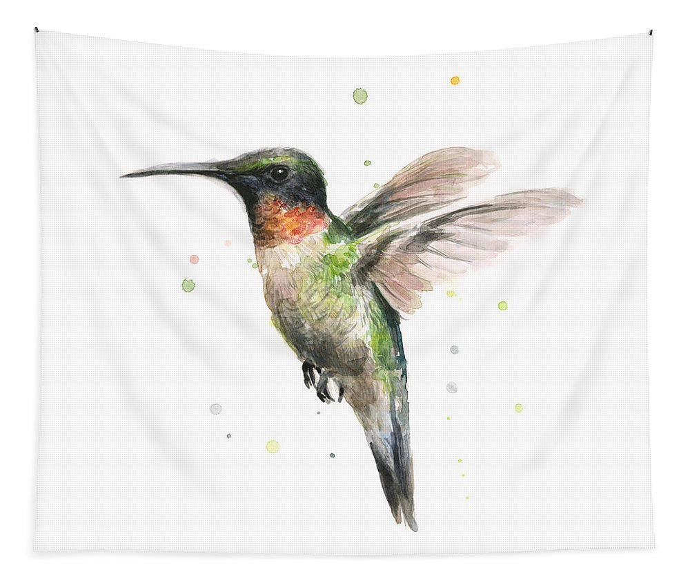 Animal Tapestry featuring the painting Hummingbird by Olga Shvartsur