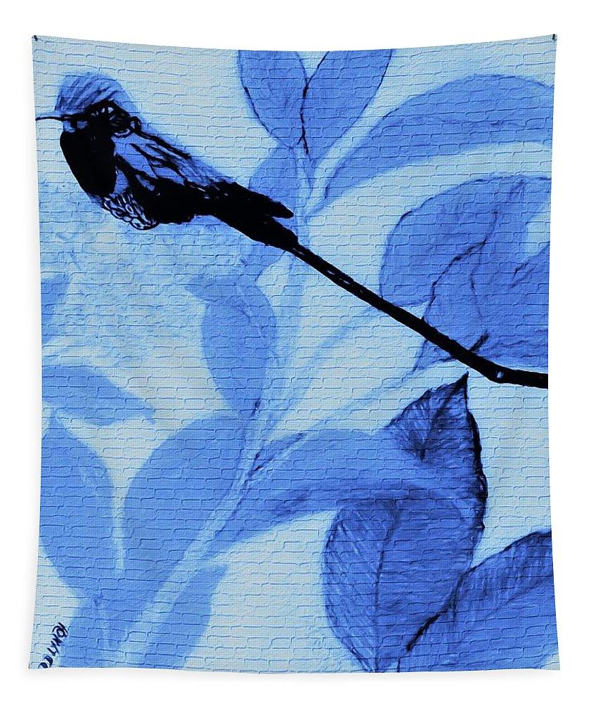 Blue Tapestry featuring the mixed media Hummingbird Urban Street Art by Debra Lynch
