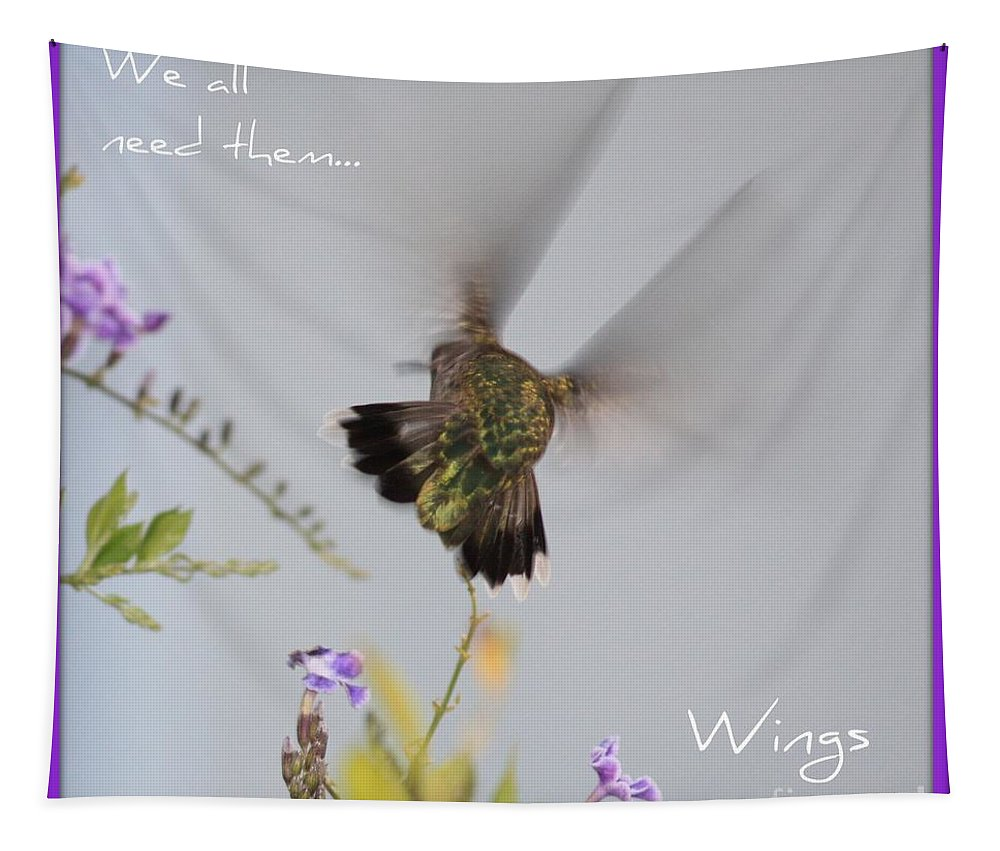 Digital Art Tapestry featuring the photograph Hummingbird Wings by Carol Groenen