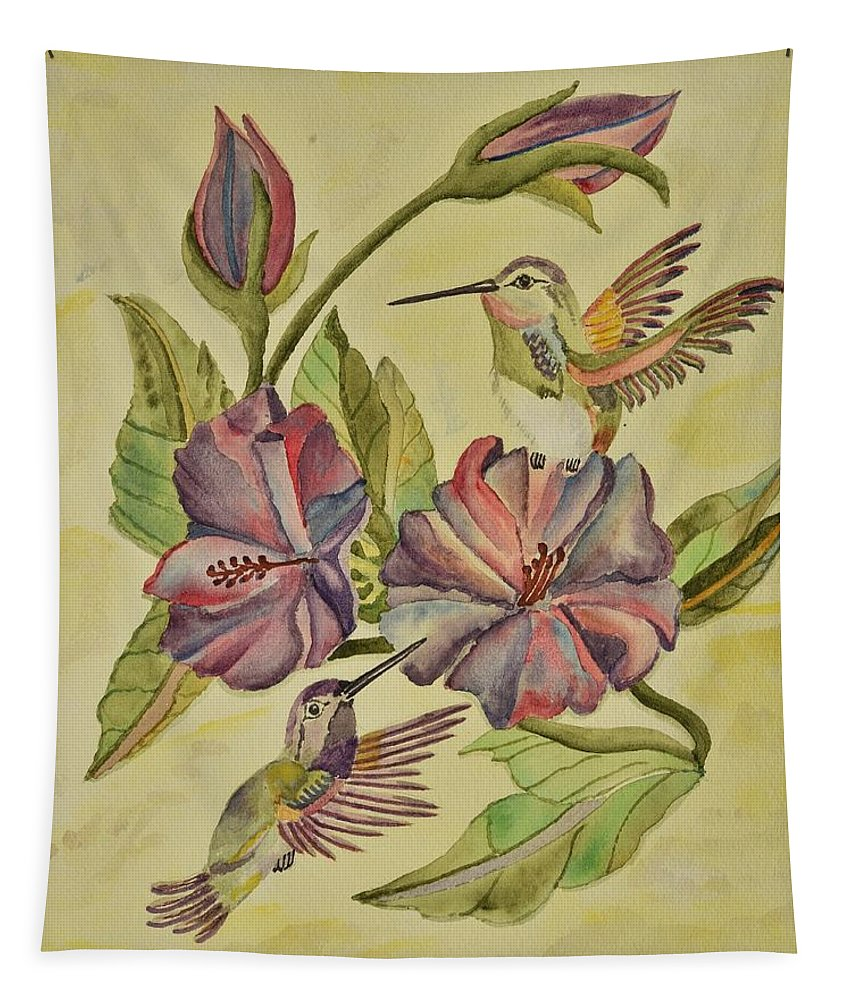 Linda Brody Tapestry featuring the painting Hummingbirds And Hibiscus by Linda Brody