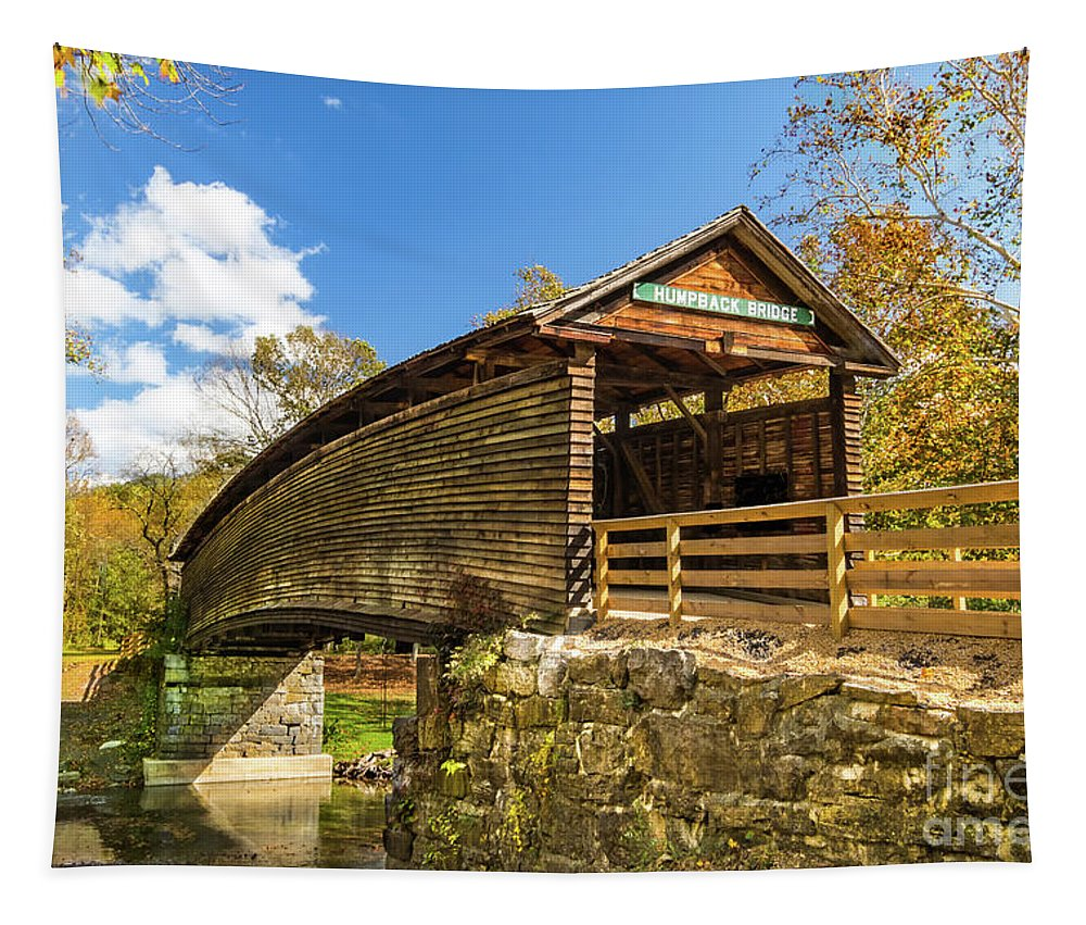 Humpback Bridge Tapestry featuring the photograph Humpback Covered Bridge In Autumn Colors by Norma Brandsberg