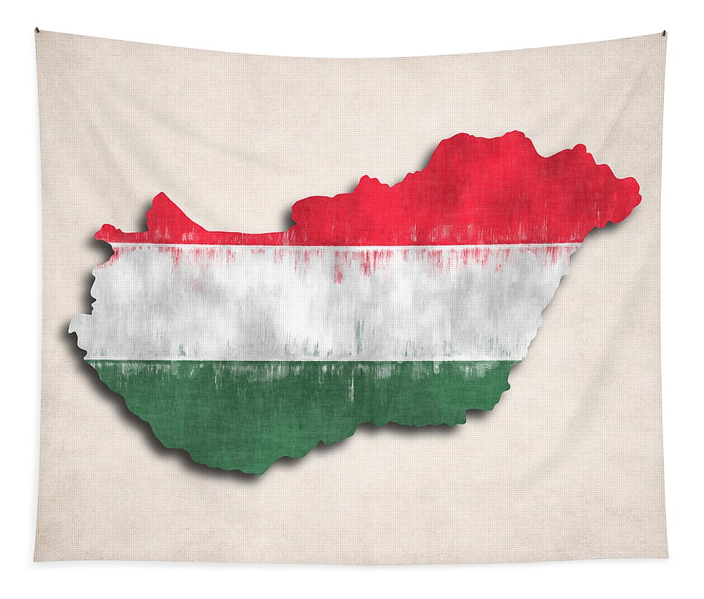 Tapestry featuring the digital art Hungary Map Art With Flag Design by World Art Prints And Designs