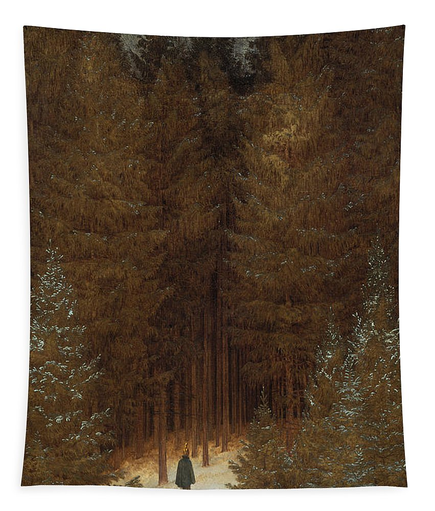 Caspar David Friedrich Tapestry featuring the painting Hunter In The Forest by Caspar David Friedrich