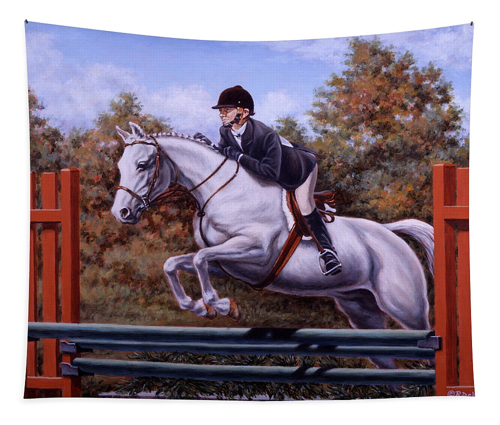 Horse Tapestry featuring the painting Hunter Pony by Richard De Wolfe
